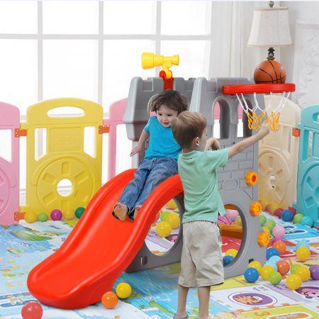 Costway Kleinkindrutsche Kinderrutsche Kinderschlossrutsche mit Basketballkorb und Teleskopspielzeug