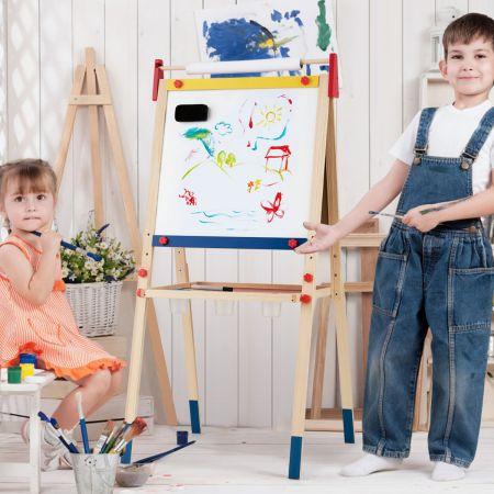 3-in-1 Maltafel für Kinder Doppelseitige Standtafel mit Whiteboard & Massivholzrahmen Kreidetafel magnetisch mit Papierrolle 2 Kreidestiften für Kinder 60x55x124,5cm