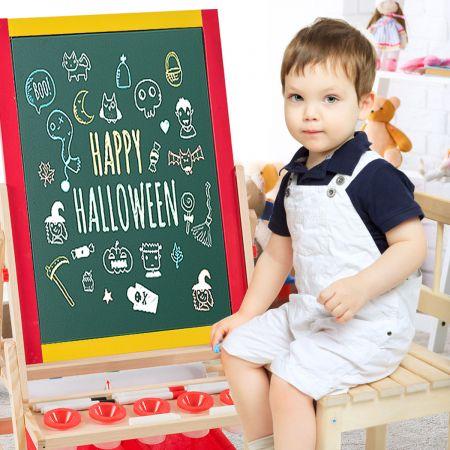 COSTWAY 3 in 1 Kinder Staffelei Kindertafel doppelseitig Whiteboard & Kreidetafel mit Zeichenpapier Maltafel Holztafel mit 2 Aufbewahrungsboxen 52,5x51,5x106,5 cm