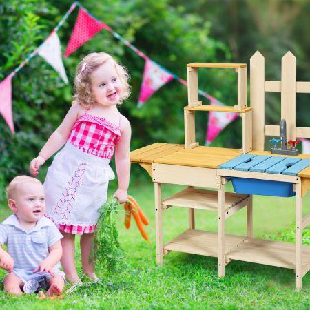 Costway Outdoor Kinderküche Matschküche Holzküche für Kinder mit nachgebildetem Wasserhahn