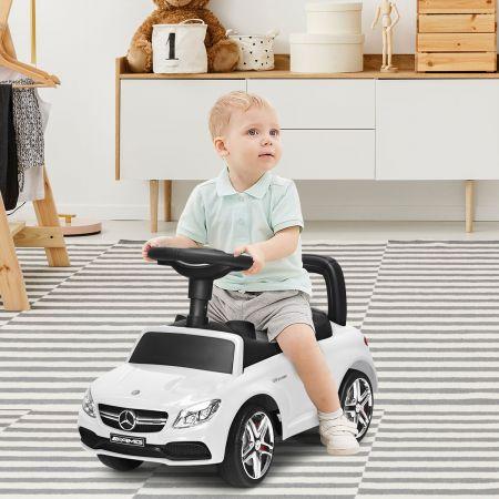 Costway Aufsitzwagen Schubwagen für Kinder Lizenzierter Mercedes Benz Aufsitzwagen 63 x 28 x 38 cm Schwarz/Rot/Weiß
