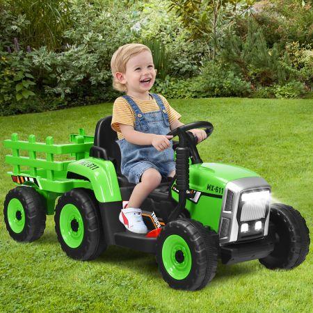 Costway 3-Gang Kinder Traktor 12V Aufsitztraktor mit abnehmbarem Anhänger Grün
