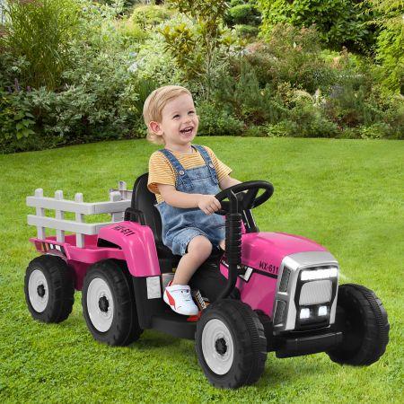 Costway 12V Kinder-Traktor mit Anhänger elektrisches Spielzeugauto 135 x 51 x 53 cm Rosa