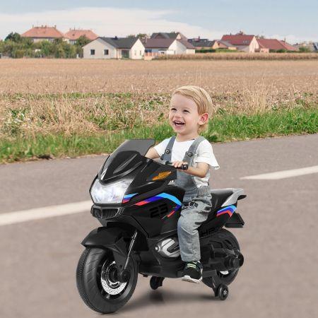Costway 12V Elektro Motorrad Kindermotorrad mit Stützrädern Elektromotorrad Schwarz