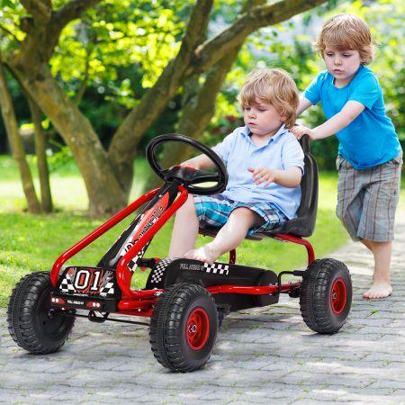 Gokart Go Cart mit Handbremse Tretauto 30kg Tretfahrzeug Pedalfahrzeug 3-6 Jahre Rot
