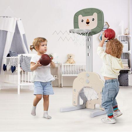 Costway 3-in-1 Basketballkorb-Set Kleinkind Basketballkorb mit einstellbarer Höhe Basketball Fußball Golf Set Grün + Weiß