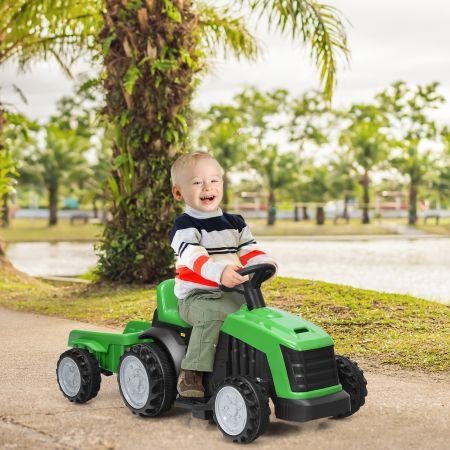 Costway Kinder Traktor 2-Gang 6V Aufsitztraktor Kinderfahrzeug Elektroauto Grün