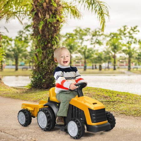 Costway Kinder Traktor 2-Gang 6V Aufsitztraktor Kinderfahrzeug Elektroauto Gelb