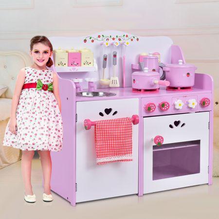 Rosa und Weiß Holz Kinderspielküche Spielzeugküche