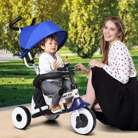Kinderdreirad Tricycle Klappbares Abnehmbares Dreirad mit Schubstange 91 x 49,5 x 102,5 cm Blau