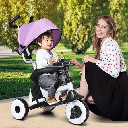 Costway 4-in-1 Kinderdreirad Klappbar Baby-Dreirad 3 Räder Fahrrad mit Markise Rosa