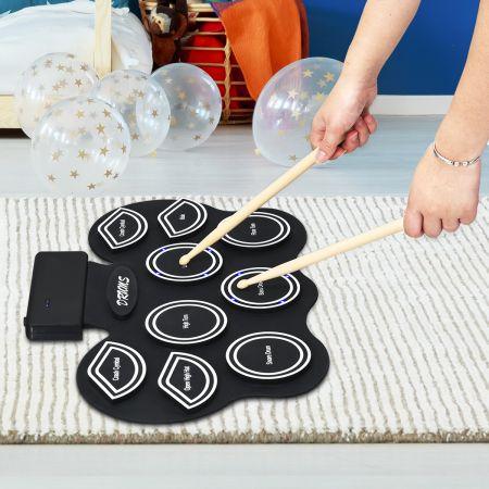 Mobiles E-Drum Set digitales elektronisches Schlagzeug mit 9 Silikon Pads und Bluetooth schwarz