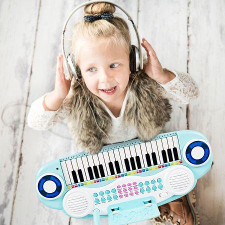 Costway 37 Tasten Kinder-Keyboard elektronisches Kinderklavier mit Licht Aufnahme & Abspiel Funktion Blau