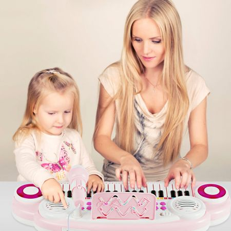 Costway 37 Tasten Kinder-Keyboard elektronisches Kinderklavier mit Licht Aufnahme & Abspiel Funktion Rosa