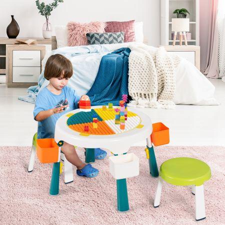 5 in 1 Kindersitzgruppe Kinder Spieltisch klappbar Spieltischset höhenverstellbar Sitzgruppe für Kinder mit Staufach Tisch & 2 Stühle Grün