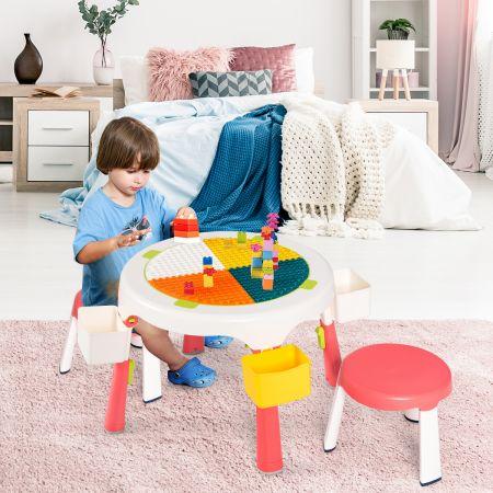 5 in 1 Kindersitzgruppe Kinder Spieltisch klappbar Spieltischset höhenverstellbar Sitzgruppe für Kinder mit Staufach Tisch & 2 Stühle Rosa