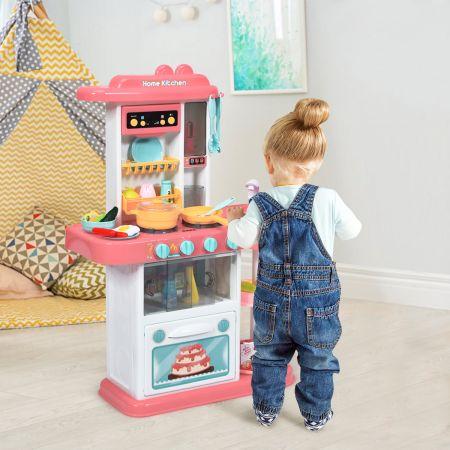 Costway Kinder Küchen Kochset Kinderküche mit Spieluhr und Lichtern Spielzeugküche für Kleinkinder Rosa